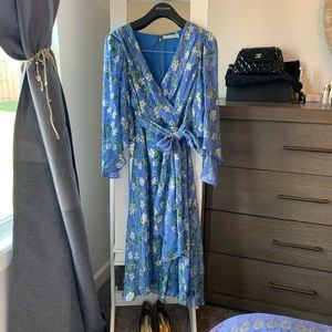 Alice and Olivia blue floral dress